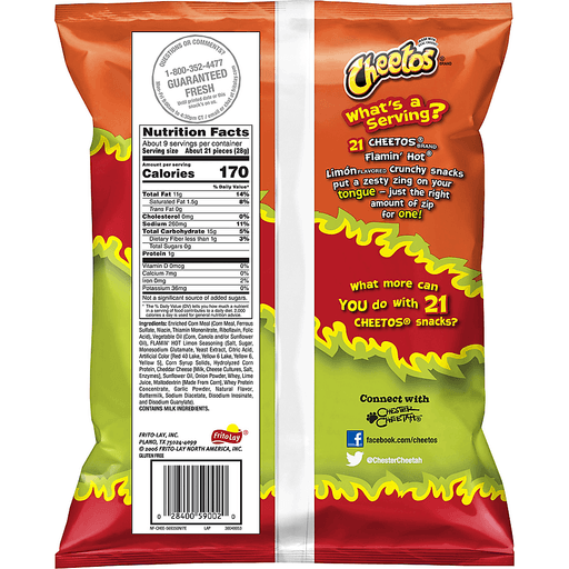 Cheetos Cheese Flavored Snacks, Flamin' Hot Limon Flavored, Crunchy