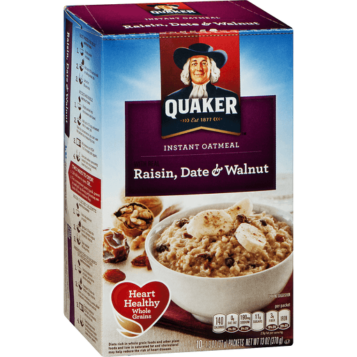 Quaker Oatmeal, Instant, with Real Raisin, Date & Walnut