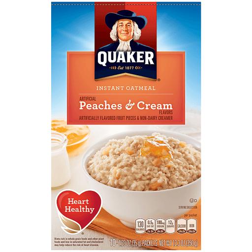 Quaker Instant Oatmeal Peaches & Cream - 10 CT