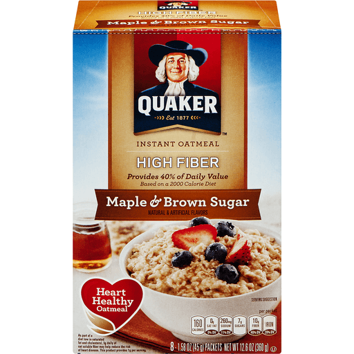 Quaker Select Starts High Fiber Oatmeal, Instant, Maple & Brown Sugar