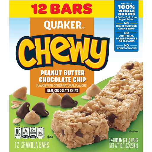 quaker chewy granola bars peanut butter chocolate chip 12 ct snacks mixers more bevmo bevmo