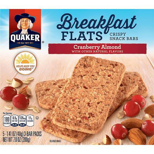 Quaker Breakfast Flats Snack Bars, Crispy, Cranberry Almond