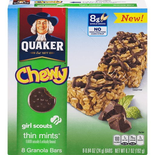 Quaker Chewy Granola Bars, Girl Scouts Thin Mints Flavor