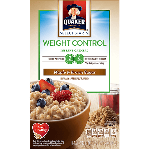 Quaker® Select Starts Weight Control Maple & Brown Sugar Instant Oatmeal 8 ct Box