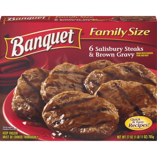 Banquet Salisbury Steaks & Brown Gravy, Family Size