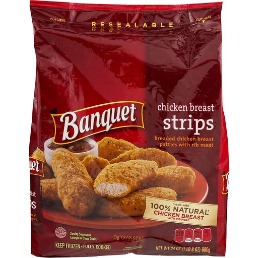Banquet Chicken Breast Strips, Breaded Chicken Breast Patties