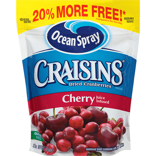 Ocean Spray Craisins Cranberries, Dried, Cherry Juice Infused