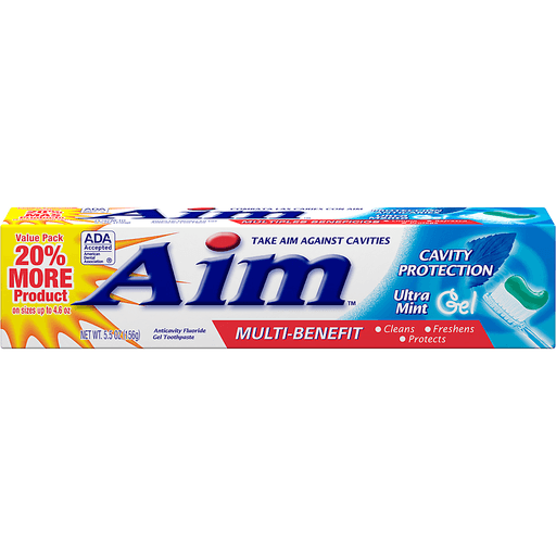Aim Toothpaste, Anticavity Fluoride, Ultra Mint, Gel, Value Pack