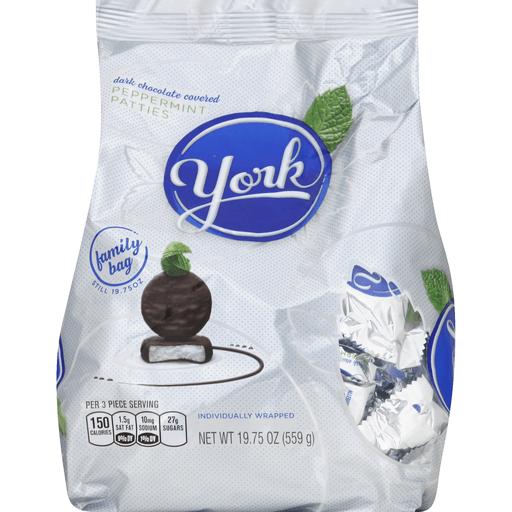 York Peppermint Patties, Dark Chocolate Covered, Family Bag
