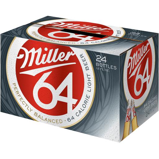 Miller64 Beer, 24 Pack, 12 fl. oz. Glass Bottles, 2.8% ABV