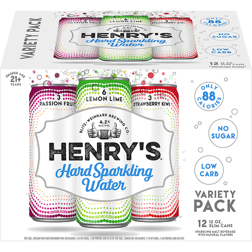 Henry's® Passion Fruit, Lemon Lime and Strawberry Kiwi Hard Sparkling Water Variety Pack 12-12 fl. oz. Cans
