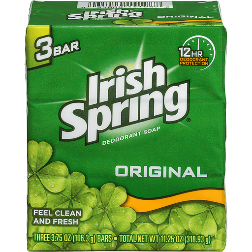 Irish Spring Deodorant Soap, Original, Bath Size