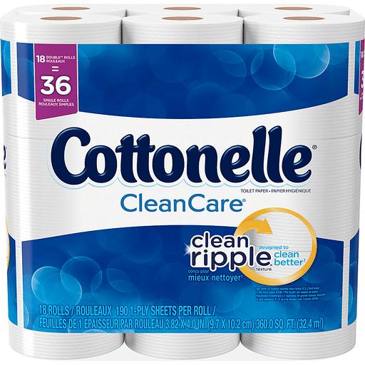 Cottonelle CleanCare Double Roll Toilet Paper, Bath Tissue, 18 Rolls