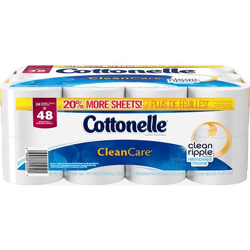 Cottonelle CleanCare Toilet Paper, Double Rolls, 1-Ply