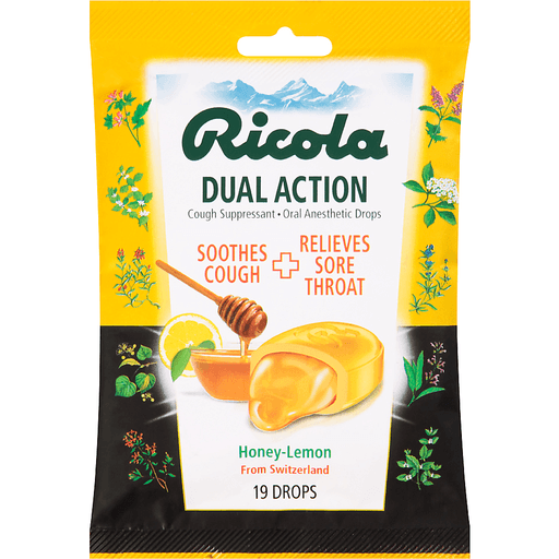 Ricola Dual Action Cough Suppressant - Oral Anesthetic Drops Honey-Lemon - 19 CT