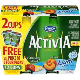 Dannon Activia Nonfat Light Yogurt with Bifidus Pack - 12 PK