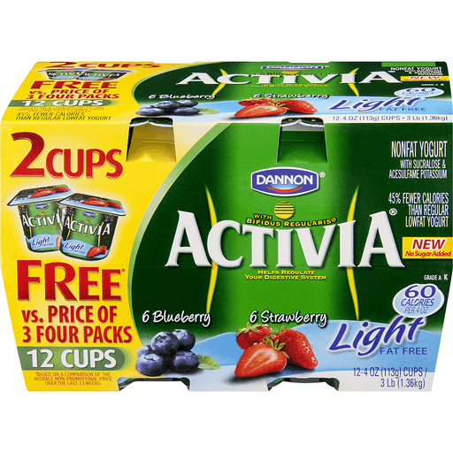 Dannon Activia Light Probiotic Nonfat Yogurt with Bifidus Variety Pack - 12 PK