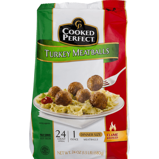 Cooked Perfect Meatballs - Turkey - Dinner Size - 24 CT