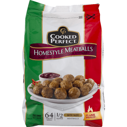Cooked Perfect Meatballs - Homestyle - Bite Size - 64 CT