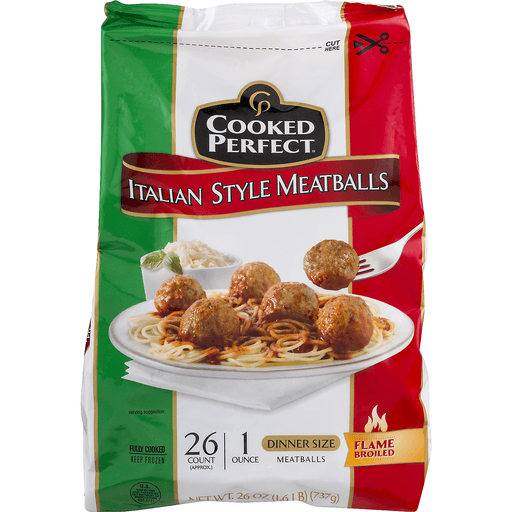 Cooked Perfect Meatballs - Italian Style - Dinner Size - 26 CT