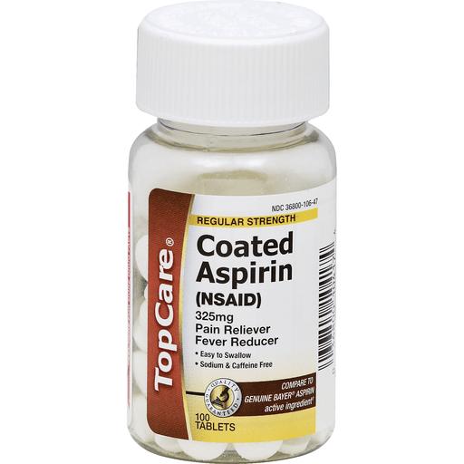 Top Care Coated Tablets Aspirin 100 Ct Plastic Bottle