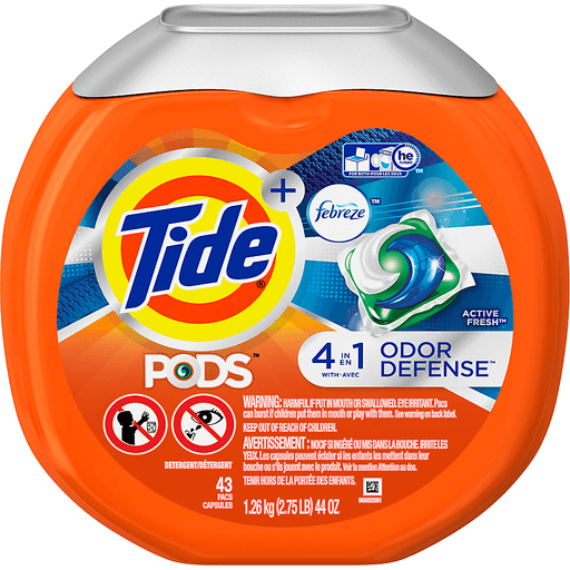 Tide PODS Plus Febreze Sport Odor Defense Laundry Pacs, Active Fresh Scent, 43 count, Designed For Regular and HE Washers