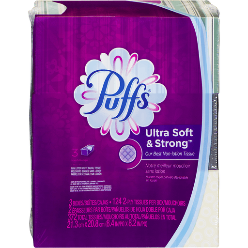Puffs Ultra Soft & Strong Facial Tissue, Non-Lotion, White, 2-Ply