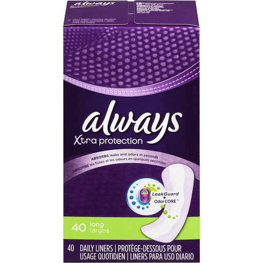 Always Xtra Protection Daily Liners, 40 Count, Long