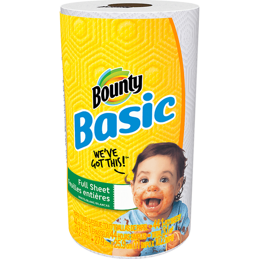 Bounty Basic Paper Towels, White, 1-Ply