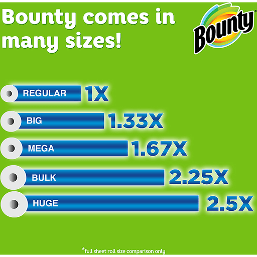 Bounty Paper Towels, Select-A-Size, Regular Rolls, White, 2-Ply
