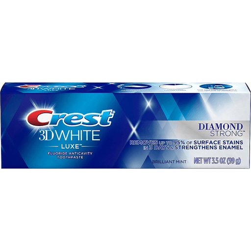 Crest 3D White Luxe Toothpaste, Fluoride Anticavity, Diamond Strong, Brilliant Mint