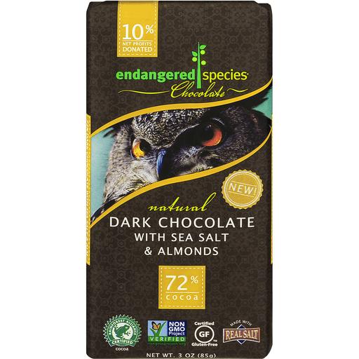 Endangered Species Chocolate Bar Natural Dark Chocolate With Sea Salt & Almonds