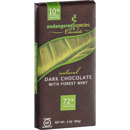 Endangered Species Dark Chocolate, with Forest Mint, 72% Cocoa