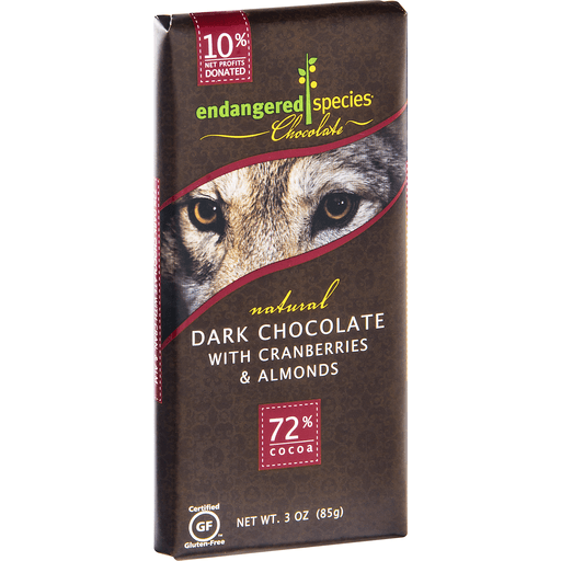 Endangered Species Dark Chocolate, with Cranberries & Almonds, 72% Cocoa