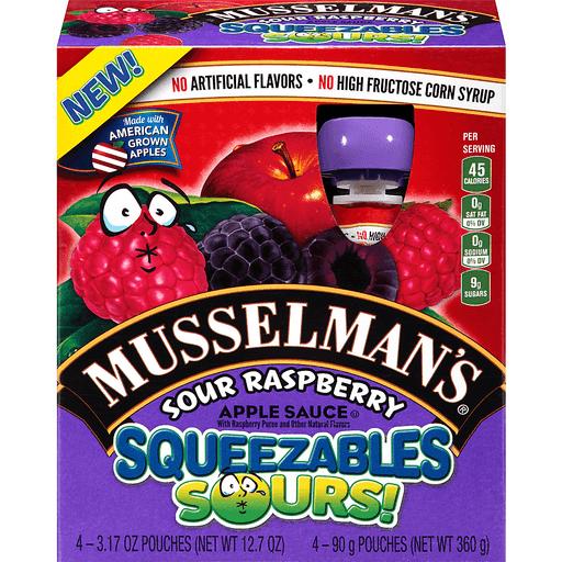 Musselmans Squeezables Sours! Apple Sauce, Sour Raspberry