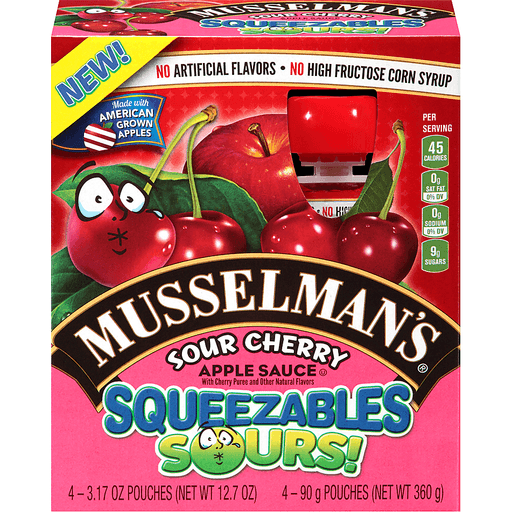 Musselmans Squeezables Sours! Apple Sauce, Sour Cherry