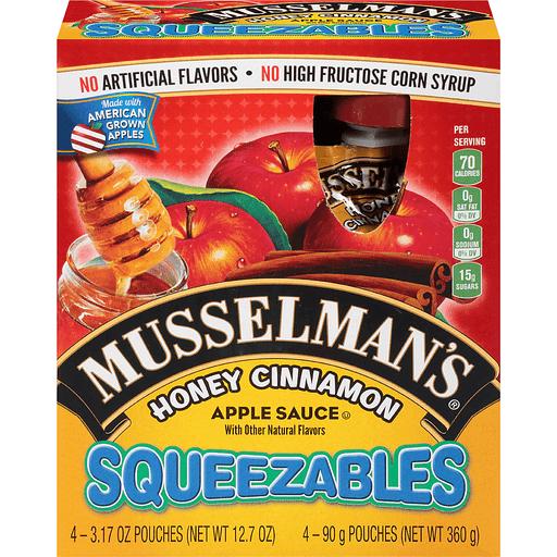 Musselmans Squeezables Apple Sauce, Honey Cinnamon
