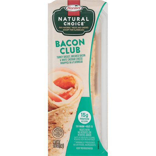 Hormel® Natural Choice™ Bacon Club Wrapped In A Flatbread 2.6 oz. Tray
