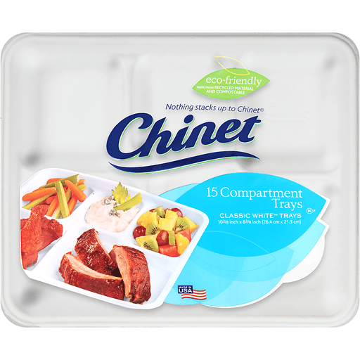 Chinet® Classic White™ Compartment Trays 15 ct Pack