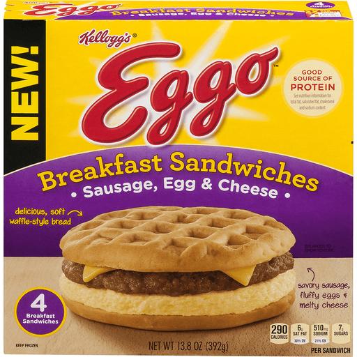 Eggo Breakfast Sandwiches, Sausage, Egg & Cheese