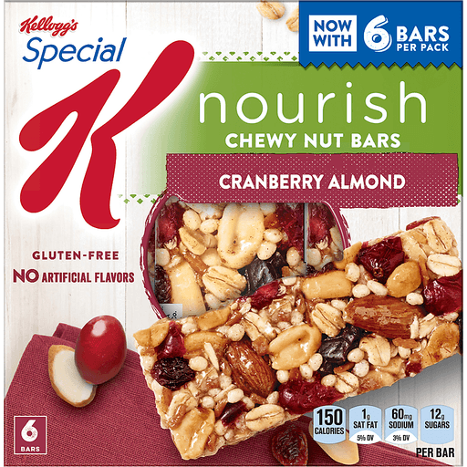 Special K Nourish Nut Bars, Chewy, Cranberry Almond