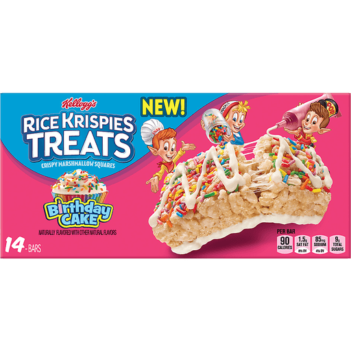 Kellogg's Rice Krispies Treats, Crispy Marshmallow Squares, Birthday Cake, 0.78 oz (Pack of 14)