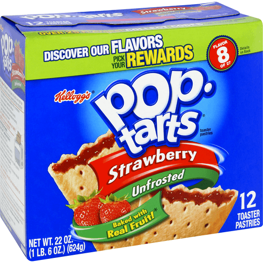 Pop Tarts Toaster Pastries, Strawberry, Unfrosted