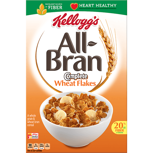 Kellogg's All-Bran Complete Wheat Flakes, Breakfast Cereal, Excellent Source of Fiber, 18 oz