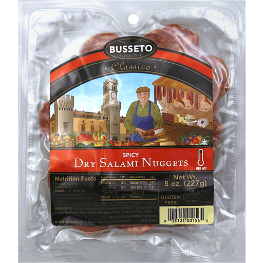 Busseto Classico Dry Salami Nuggets, Spicy, Med Hot