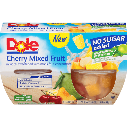 Dole Cherry Mixed Fruit No Sugar Added - 4 CT