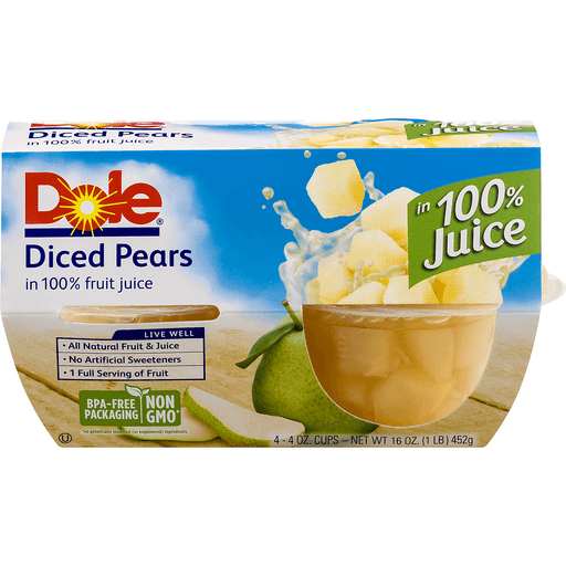 Dole Pears, Diced, in 100% Juice