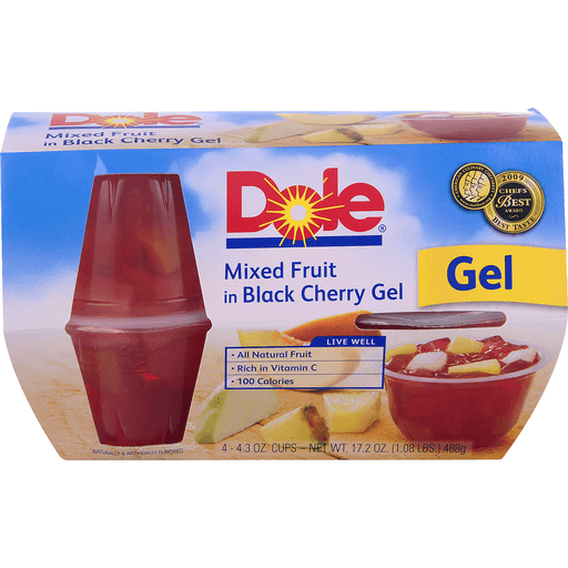 Dole Mixed Fruit, in Black Cherry Gel, Cups