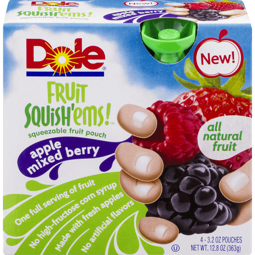 Dole Fruitocracy Squeezable Fruit Pouch Apple Mixed Berry - 4 CT