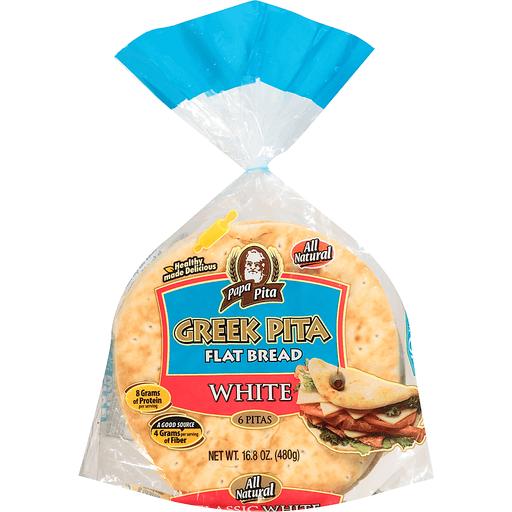 Papas Flat Bread, Greek Pita, Classic White